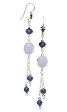 Earrings with Sodalite Gemstone Beads, Blue Lace Agate Gemstone Cabochons and Sterling Silver Chain - Fire Mountain Gems and Beads