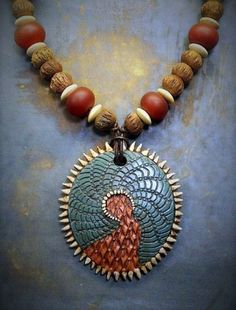 https://flic.kr/p/Dihcq9 | IMG-20130129-00158 | Textured polymer clay necklace with acrylic paint with carnelian beads