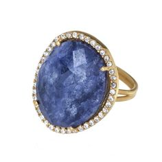 Large #ring feature faceted #sapphire stones surrounded by cz stones in yellow #gold vermeil sterling silver. Adjustable size ring. * Marlee's Designs * #Boheme Collection SAPPHIRE QUARTZ CZ RING | Marlee's by Tappers | www.marleesstyle.com #MyMarlees