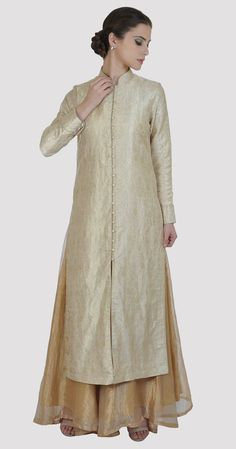 Cream-Gold Handwoven Banarasi Zari Jacket With Gold Tissue Skirt