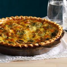 Mushroom Broccoli Quiche Recipe -I take this dish to many of my family's picnics because it's always such a hit. Serve it at any time of day. Quiche makes a great side or meatless main course—and, of course, it's a tasty addition to brunch. —Edie DeSpain, Logan, Utah