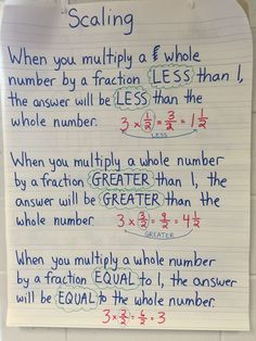 Scaling fractions can be a complicated concept for students to understand. This anchor chart helped my students tremendously! Teaching 5th Grade, Fifth Grade Math, Teaching Math, Teaching Numbers, Teaching Ideas, Math Charts, Math Anchor Charts, Math Fractions, Multiplication
