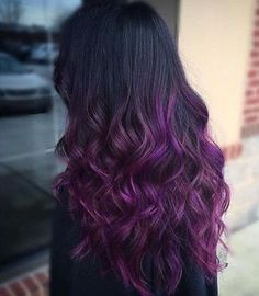 Bold and beautiful dark ombre haircolor. Purple ombre. Thick long curly hair styles.