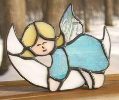 Angel sleeping on Moon stained glass nightlight