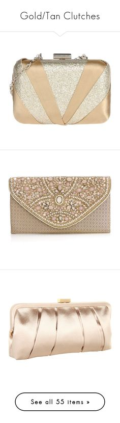"""Gold/Tan Clutches"" by silly1499 ❤ liked on Polyvore featuring bags, handbags, clutches, purses, clutch bag, evening bags, jimmy choo purses, gold metallic handbags, beige purse and clasp handbag"
