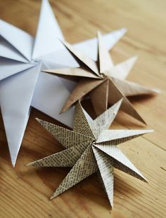 DIY Paper Stars from Home by Linn. For our first Christmas Tree. DIY Paper Stars from Home by Linn. For our first Christmas Tree. Diy Paper Christmas Tree, Paper Christmas Decorations, Scandinavian Christmas Decorations, Christmas Origami, Diy Christmas Ornaments, How To Make Ornaments, Craft Decorations, Christmas Ideas, Homemade Christmas