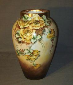 Limoges porcelain floral vase B and Co France signed J H Lathrep