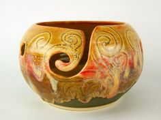 Yarn Bowl, Knitting Bowl, Crochet Bowl, Yarn Holder, Sunset Glaze, black and red and gold with Celtic Triskle and swirls