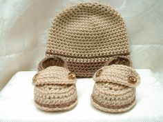 Two Button Loafers and Hat Set Newborn to 3 month old by QTPatootieKids. $28.00 USD, via Etsy.