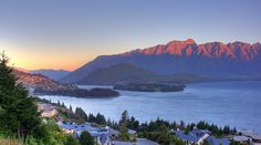 From Fernhill looking over Lake Wakatipu to Queenstown and the Remarkables, South Island