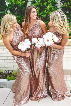 Rose Gold Wine Red Blue One-Shoulder Colorful Sparkly Long Sequins Bridesmaid Dress - Uniqistic.com