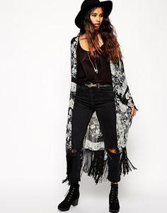 Asos Longline Kimono in Placement Print - Multi on shopstyle.co.uk