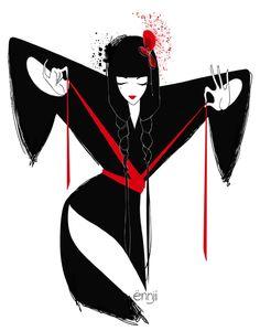 illustrations-mode-ennji-dessin-silhouette-feminines-rouge-noir-13