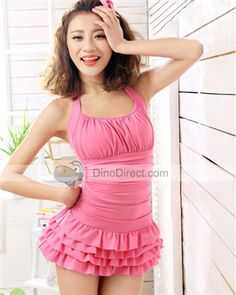 SanQi Lovely Draped Halterneck Pleated Skirt Separates Women Swimsuits - DinoDirect.com