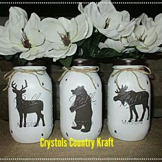 Woodland animal mason jar vases. Deer, moose bear decor. Woodland animal decor. Checkout my shop for other themes in bathroom decor, kitchen canisters , vases and mason jar lamps.