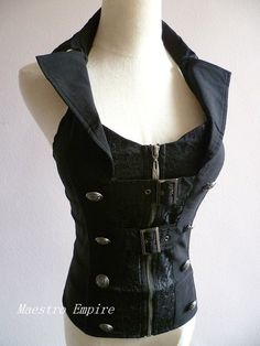 Black Gothic Goth Steampunk Victorian Buckle Punk Cosplay Corset Halter Top #Unbranded #Blouse