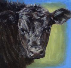 """Black Angus Calf by Denise Rich Oil ~ 18"""" x 18"""""""
