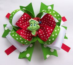 Green Grin Santa Christmas Boutique Hair Bow