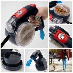 Leash Plus: la Correa Multifunción para Perros: correa extensible con freno, linterna LED, reloj, bebedero, espacio para snacks, dispensador de bolsas.... lo tiene todo!