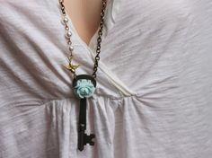 Blue rose vintage skeleton key necklace