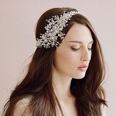 Whitelotous Beautiful Bride Handmade Crystal Ornaments Headdress Headbands Wedding Decor