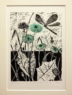 Dragonfly hand printed, limited edition. lino print. on Etsy, $74.24 AUD
