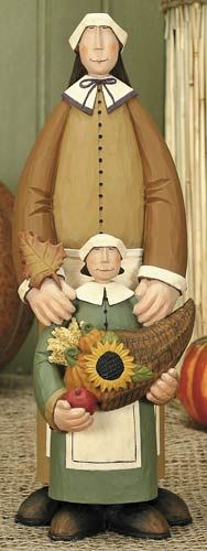 Pilgrim Mother & Daughter Figurine – Harvest Folk Art Figurines & Thanksgiving Collectibles – Williraye Studio $15.00