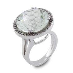 #Malakan #Jewelry - Platinum-Silver Green #Amethyst Ladies Diamond Ring 65413BA #Fashion #FashionRings #WomensFashion