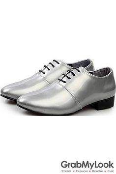 GrabMyLook Silver Grey Metallic Glossy Patent Leather Lace Up Point Head Mens Oxfords Shoes