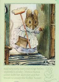 An illustration from the classic Beatrix Potter 'A Tale of Two Bad Mice.'  I read these books all the time as a child. It may have been one source for my lifelong notion that cleaning is penitence.