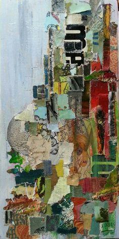 me-collage on salvaged wood panel
