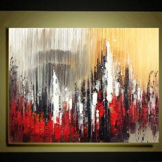 """Panorama originale città contemporanea pittura astratta olio spatola impasto floreale pittura 24 """"x 32"""" pronta per essere appesa da Qujun"""