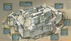 Krak des Chevaliers, Syria. Birds eye, Illustration, cut-away