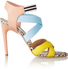 339b870c73 MSGM Elasticated grosgrain and leather sandals on shopstyle.com Colorful  Shoes, Leather Sandals,