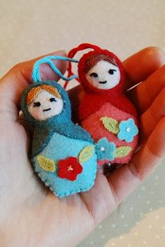 My kids and I made these last Christmas as ornaments, so much fun! Sew to Speak: April's Mini Matryoshkas, felt