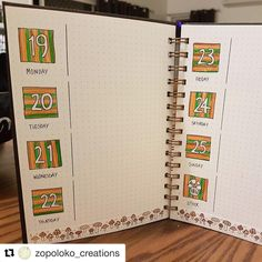 Check out this great weekly spread one of my lovely customers, Zoe @zopoloko_creations , has created in her dot journal. I love the simplicity of the design and the earthy colours.