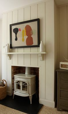 Susie Atkinson - Contemporary tongue and groove panelling Brick Fireplace, Fireplace Surrounds, Fireplace Ideas, Chimney Decor, Tongue And Groove Panelling, Farm House Colors, Types Of Curtains, Chimney Breast, Modern Cottage