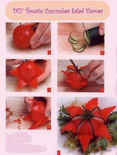 DIY Tomato Cucumber Flower for Salad food vegetables salad party ideas food art food tutorials Veggie Art, Fruit And Vegetable Carving, Veggie Food, Fruit Decorations, Food Decoration, Edible Food, Edible Art, Cucumber Flower, Deco Fruit