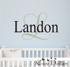 Monogram Name vinyl wall art    This unique decal is a nice and easy way to decorate your kids room.