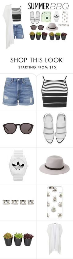 """""""HI MY NAME IS"""" by esthervyi ❤ liked on Polyvore featuring Topshop, Yves Saint Laurent, Alexander Wang, adidas, Forever 21, Maison Margiela and Casetify"""
