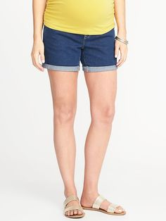 "Maternity Front-Low Panel Denim Shorts (5"")"