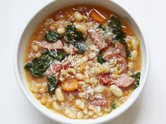 """Giada's """"House"""" Soup recipe from Giada De Laurentiis. Calls for some special ingredients, plus some time, but would freeze well and would be great in the winter."""