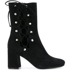 McQ Alexander McQueen lace-up ankle boots ($634) ❤ liked on Polyvore featuring shoes, boots, ankle booties, black, black lace up booties, black leather boots, laced up ankle boots, leather ankle boots and black bootie