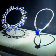 """""""Jewelry from Napoleon Bonaparte to his wife from the Smithsonian…"""" Not unless she lived into the c. Hall Sapphire necklace by Harry Winston on the left, Bismarck Sapphire necklace by Cartier, on the right. They are at the Smithsonian. Royal Jewelry, Gems Jewelry, Jewelry Art, Antique Jewelry, Jewelery, Women Jewelry, Jewelry Design, Royal Diamond, Queens Jewels"""