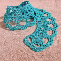 Turquoise collar necklace Aquamarine crochet lace neck by MyWealth