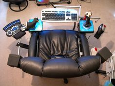 DIY gamer deluxe chair. I love the speaker placement and the LED over the keyboard.