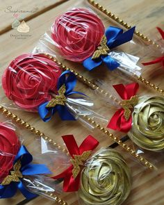 Super cute treats for a party! Wonder Woman Birthday, Wonder Woman Party, Birthday Woman, Snow White Birthday, Sweet 16 Birthday, Birthday Parties, Beauty And Beast Birthday, Beauty And The Beast Theme, Masquerade Ball Party