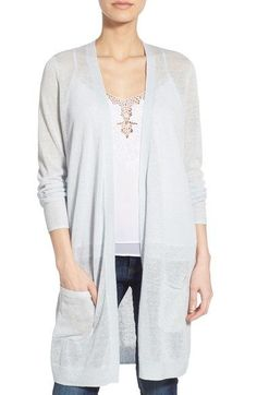 Halogen® Long Linen Blend Cardigan (Regular & Petite) available at #Nordstrom