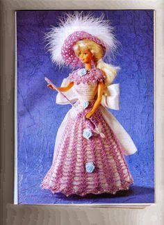 Barbie Crochet Miniaturas Artesanato e Coisas Mais de Tudo Um Pouco e Muito Mais: Vestido, Chapéu e Sombrinha Fechada de Crochê Para Barbie - Com Gráfico - 1000 Mailles Robes de Poupée