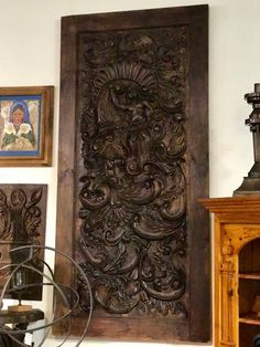 "Hand Carved Wood Panel  45.5"" Wide x 93.75"" High   $3999  Dealer #ASM  LOST . .again Antiques & Decor 148 Riveredge Dallas, TX 75207"